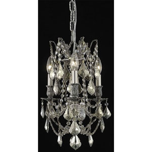 Rosalia Pewter Three-Light Chandelier with Golden Teak/Smoky Royal Cut Crystals