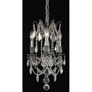 Rosalia Pewter Three-Light Chandelier with Clear Royal Cut Crystals