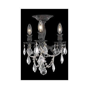 Rosalia Dark Bronze Three-Light Semi-Flush Mount with Golden Teak/Smoky Royal Cut Crystals