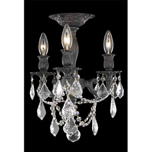 Rosalia Dark Bronze Three-Light Semi-Flush Mount with Clear Royal Cut Crystals