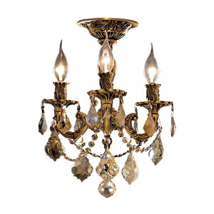 Rosalia French Gold Three-Light 13-Inch Semi Flush Mount with Royal Cut Golden Teak Smoky Crystal