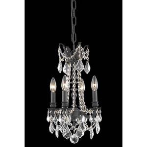 Rosalia Dark Bronze 10-Inch Four-Light Chandelier with Royal Cut Crystal