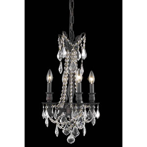Rosalia Dark Bronze 13-Inch Four-Light Chandelier with Royal Cut Crystal