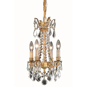 Rosalia French Gold 13-Inch Four-Light Chandelier with Royal Cut Crystal