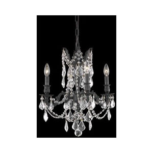 Rosalia Dark Bronze Four-Light Chandelier with Golden Teak/Smoky Royal Cut Crystals
