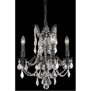 Rosalia Dark Bronze Four-Light Chandelier with Clear Royal Cut Crystals