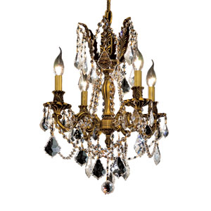 Rosalia French Gold Four-Light 17-Inch Chandelier with Royal Cut Clear Crystal