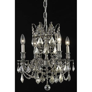 Rosalia Pewter Four-Light Chandelier with Golden Teak/Smoky Royal Cut Crystals
