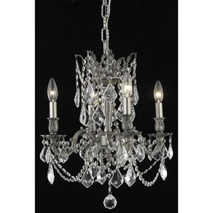 Rosalia Pewter Four-Light Chandelier with Clear Royal Cut Crystals