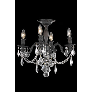 Rosalia Dark Bronze Four-Light Semi-Flush Mount with Clear Royal Cut Crystals