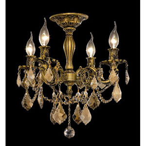 Rosalia French Gold Four-Light 17-Inch Semi Flush Mount with Royal Cut Golden Teak Smoky Crystal