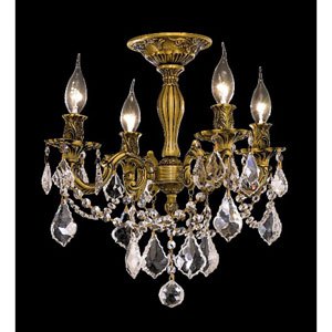 Rosalia French Gold Four-Light 17-Inch Semi Flush Mount with Royal Cut Clear Crystal