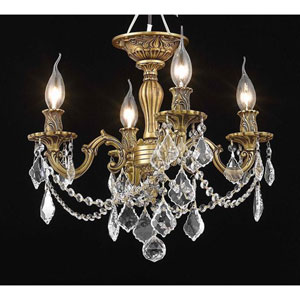 Rosalia French Gold Four-Light Flush Mount with Elegant Cut Crystal