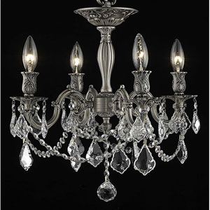 Rosalia Pewter Four-Light Semi-Flush Mount with Clear Royal Cut Crystals