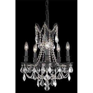 Rosalia Dark Bronze Five-Light Chandelier with Clear Royal Cut Crystals