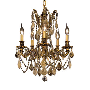 Rosalia French Gold Five-Light 18-Inch Chandelier with Royal Cut Golden Teak Smoky Crystal