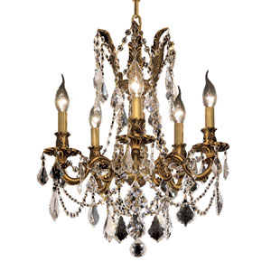 Rosalia French Gold Five-Light 18-Inch Chandelier with Royal Cut Clear Crystal