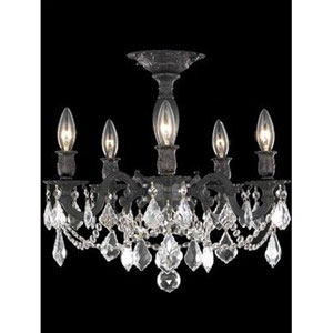 Rosalia Dark Bronze Five-Light Semi-Flush Mount with Golden Teak/Smoky Royal Cut Crystals