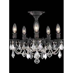 Rosalia Dark Bronze Five-Light Semi-Flush Mount with Clear Royal Cut Crystals