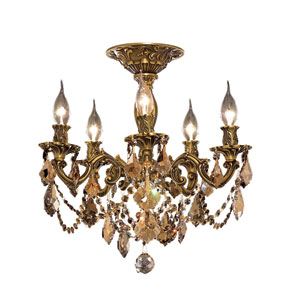 Rosalia French Gold Five-Light 18-Inch Semi Flush Mount with Royal Cut Golden Teak Smoky Crystal