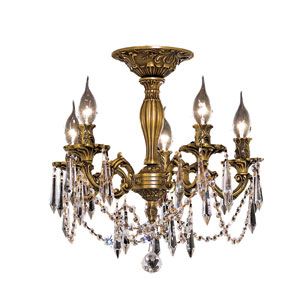 Rosalia French Gold Five-Light 18-Inch Semi Flush Mount with Royal Cut Clear Crystal
