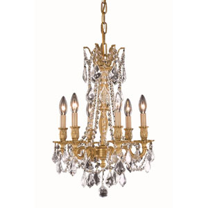 Rosalia French Gold 16-Inch Six-Light Chandelier with Royal Cut Crystal