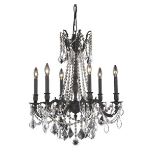 Rosalia Dark Bronze 23-Inch Six-Light Chandelier with Royal Cut Crystal