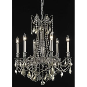 Rosalia Pewter Six-Light Chandelier with Golden Teak/Smoky Royal Cut Crystals