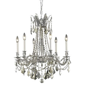 Rosalia Pewter 23-Inch Six-Light Chandelier with Royal Cut Crystal