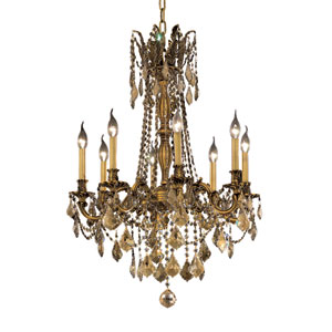 Rosalia French Gold Eight-Light 24-Inch Chandelier with Royal Cut Golden Teak Smoky Crystal