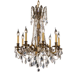Rosalia French Gold Eight-Light 24-Inch Chandelier with Royal Cut Clear Crystal