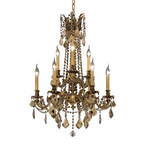 Rosalia French Gold Nine-Light 23-Inch Chandelier with Royal Cut Golden Teak Smoky Crystal