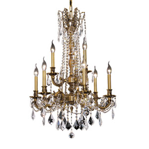 Rosalia French Gold Nine-Light 23-Inch Chandelier with Royal Cut Clear Crystal