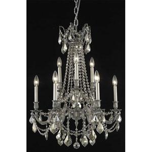 Rosalia Pewter Nine-Light Chandelier with Golden Teak/Smoky Royal Cut Crystals