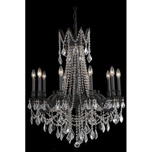 Rosalia Dark Bronze Ten-Light Chandelier with Golden Teak/Smoky Royal Cut Crystals