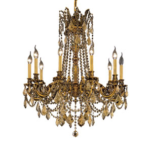 Rosalia French Gold Ten-Light 28-Inch Chandelier with Royal Cut Golden Teak Smoky Crystal