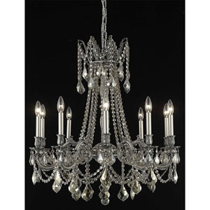 Rosalia Pewter Ten-Light Chandelier with Golden Teak/Smoky Royal Cut Crystals