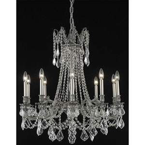 Rosalia Pewter Ten-Light Chandelier with Clear Royal Cut Crystals