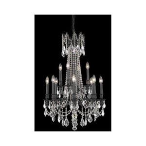 Rosalia Dark Bronze Twelve-Light Chandelier with Golden Teak/Smoky Royal Cut Crystals