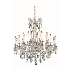 Rosalia Pewter 24-Light 36-Inch Chandelier with Royal Cut Crystal