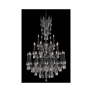 Rosalia Dark Bronze Twenty-Five Light Chandelier with Golden Teak/Smoky Royal Cut Crystals