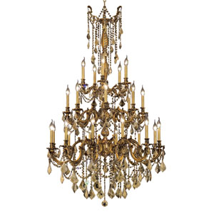 Rosalia French Gold Twenty-Five Light 38-Inch Chandelier with Royal Cut Golden Teak Smoky Crystal