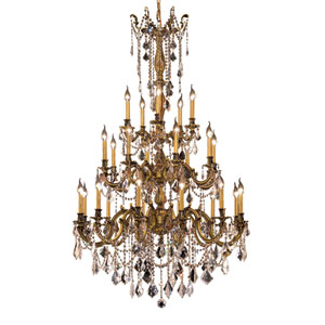Rosalia French Gold Twenty-Five Light 38-Inch Chandelier with Royal Cut Clear Crystal