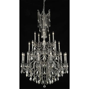 Rosalia Pewter Twenty-Five Light Chandelier with Golden Teak/Smoky Royal Cut Crystals