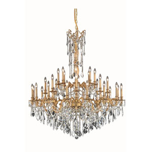 Rosalia French Gold 32-Light Chandelier with Royal Cut Crystal