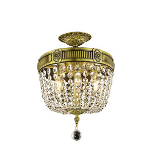 Esperanza Antique Bronze Three-Light Semi-Flush Mount with Clear Royal Cut Crystals