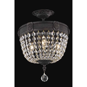 Esperanza Dark Bronze 12-Inch Three-Light Flush Mount with Royal Cut Crystal
