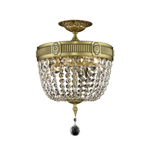 Esperanza French Gold Three-Light Semi-Flush Mount with Clear Royal Cut Crystals