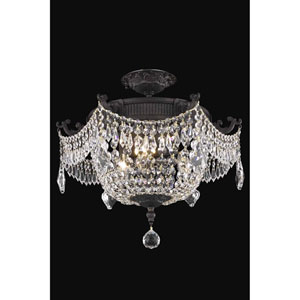 Esperanza Dark Bronze 18-Inch Three-Light Flush Mount with Royal Cut Crystal