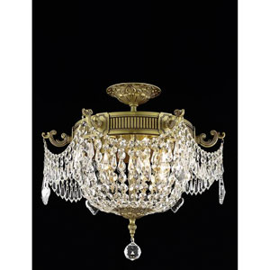Esperanza French Three-Light Flush Mount with Royal Cut Crystal